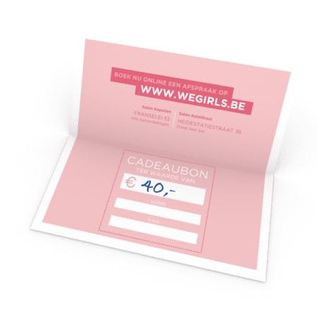cadeaubon Wegirls 40 euro